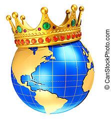 globo de la tierra, planeta, con, dorado, corona real