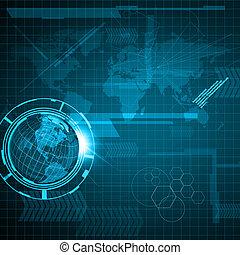 globo de la tierra, tecnología, plano de fondo
