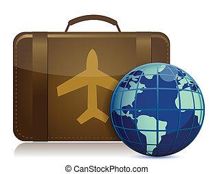 globo de la tierra, y, marrón, equipaje