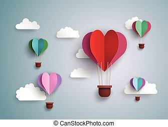 globo del aire caliente, en, un, corazón, forma.