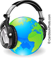 globo del mundo, auriculares, música