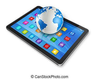 globo del mundo, computadora, tableta, digital