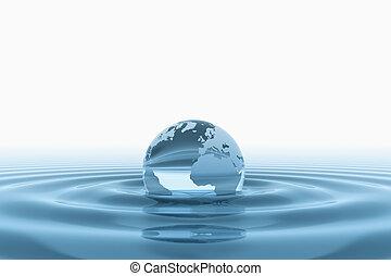 globo del mundo, en, agua