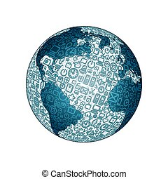globo del mundo, hecho, de, social, medios, iconos