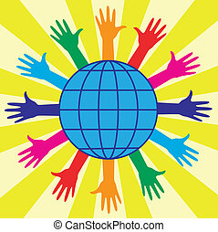 globo del mundo, manos