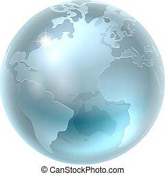 globo del mundo, metálico, plata, tierra