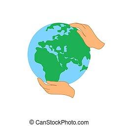 globo, desenho, terra, logotipo, salvar, template.