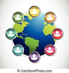 globo, diversidad, ilustración, gente