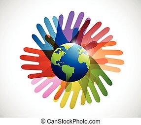 globo, diversità, intorno, mani