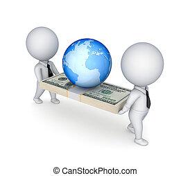 globo, dollaro, persone, pack., 3d, piccolo