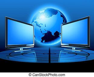 globo, dos, monitores