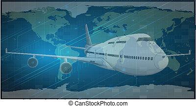 globo, e, avião