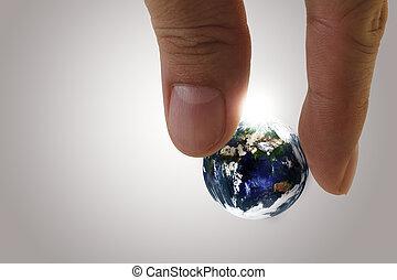 globo, em, dedos
