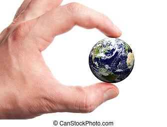 globo, em, mão