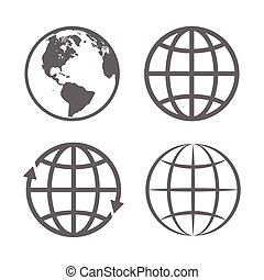 globo, emblem., vettore, terra, template., logotipo, set., icona