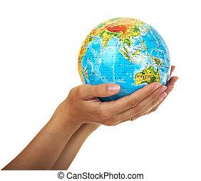 globo, en, el, mujeres, manos