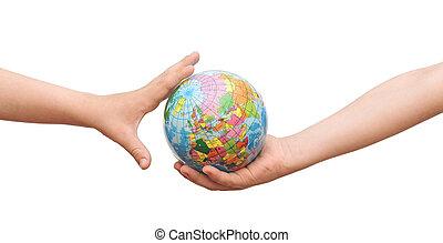 globo, en, niños, hands.