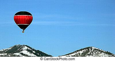 globo, encima, monte