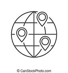 globo, esboço, localização, ícone