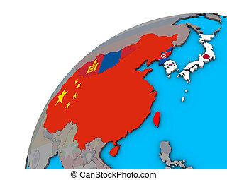 globo, est, bandiere, asia, 3d