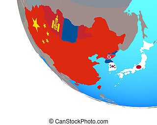 globo, est, bandiere, asia