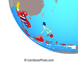 globo, est, bandiere, asia sud