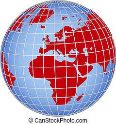 globo, europa, africa