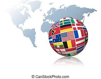 globo, feito, saída, de, bandeiras, ligado, um, mapa mundial, experiência.
