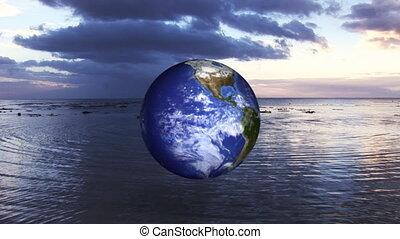 globo, filatura, su, il, oceano