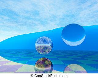 globo, fondo, orizzonte