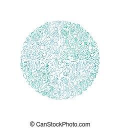 globo, forma, verdura, modello, set, illustrazione, bambini, mano, disegno, concetto, disegno, verde blu, colorare, isolato, bianco, fondo, vettore, eps, 10