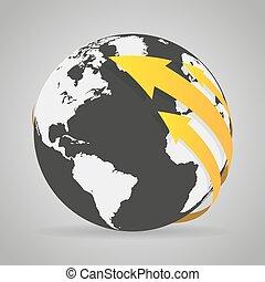 globo, frecce, nero, arancia, terra, uggia