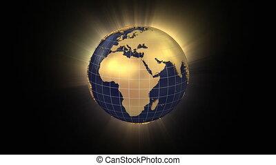 globo girando, unfolds, e, zooms, ligado, mapa, eua