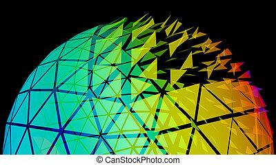 globo, griglia, rete, illustrazione, 3d
