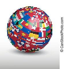 globo, hecho, afuera, de, mundo, flags.