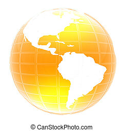 globo, icona, giallo, 3d, culmini