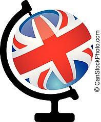 globo, icona, inglese, parlare, concetto, lei