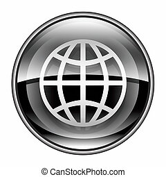 globo, icona, nero, isolato, bianco, fondo.