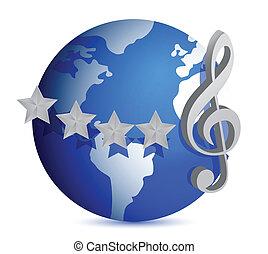 globo, ilustração, nota música