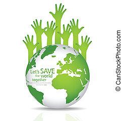 globo, ilustração, vetorial, hands., salvar, mundo