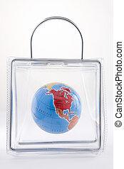 globo, in, uno, sacchetto di plastica