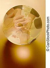 globo, intorno, mani