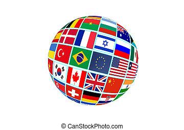 globo, isolado, bandeiras, fundo, mundo, branca