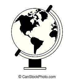 globo, isolato, nero, mondo, bianco, cartone animato