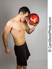 globo, joven, muscular, hombre