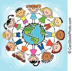 globo, kids., niños, tierra, day., vector