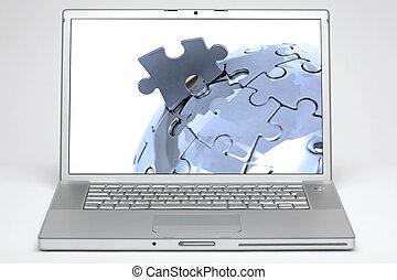 globo, laptop, schermo bianco, fondo