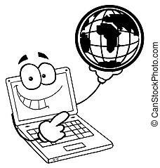 globo, laptop, tipo, delineato, presa a terra