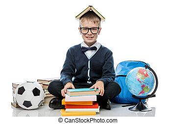 globo, libri, studio, fondo, bianco, gioioso, scolaro