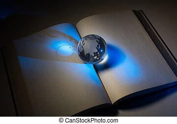 globo, libro, aperto